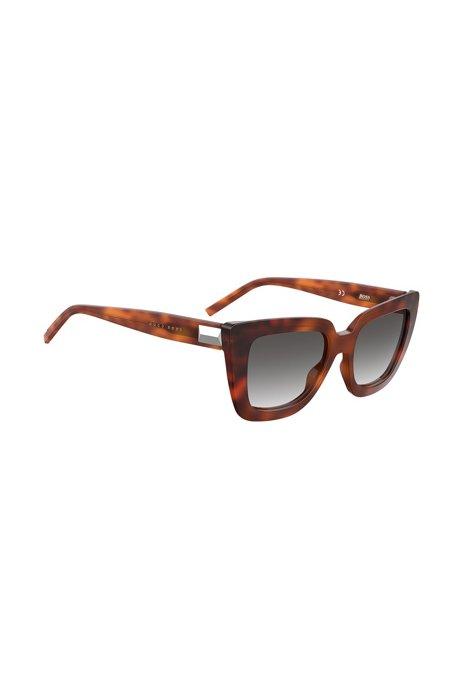 Sonnenbrille aus Acetat in dunklem Havana mit Metalldetail, Braun