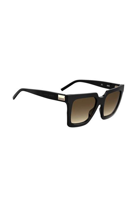 Lichte zonnebril van zwart acetaat met hardwaredetail, Zwart