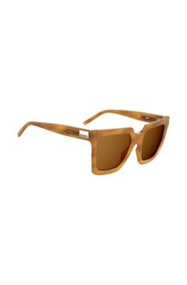 Gafas de sol de acetato en habana claro con detalle metálico, Marrón claro