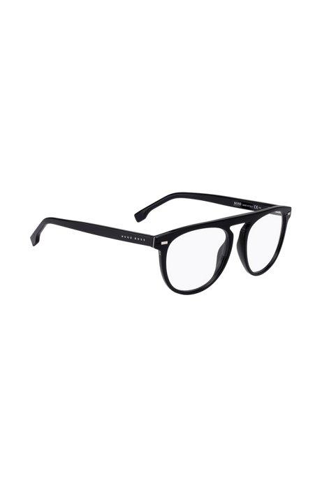 Optical frames in black acetate with hardware details, Black