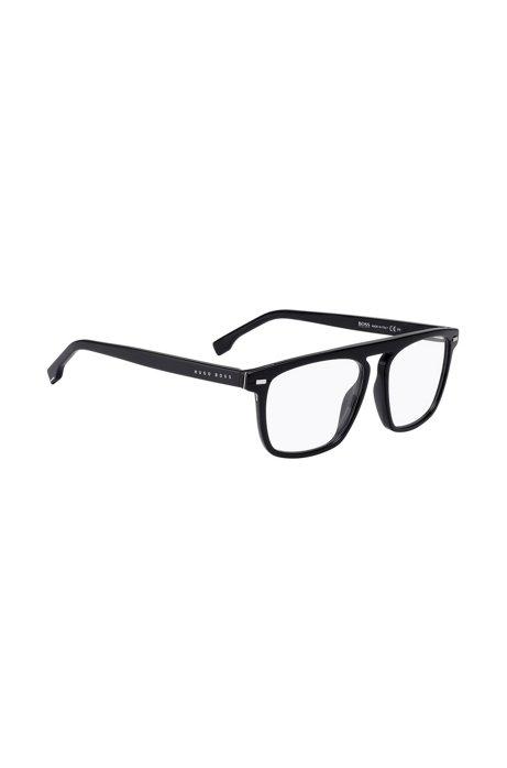 Optische Brillenfassung aus schwarzem Acetat mit Metallnieten, Schwarz