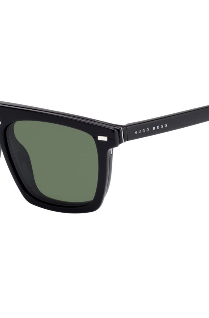 Clip-on sun lenses in black acetate