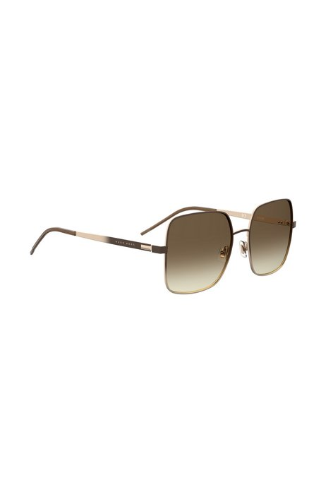Chromatically shaded sunglasses in steel with gradient lenses, Dark Brown