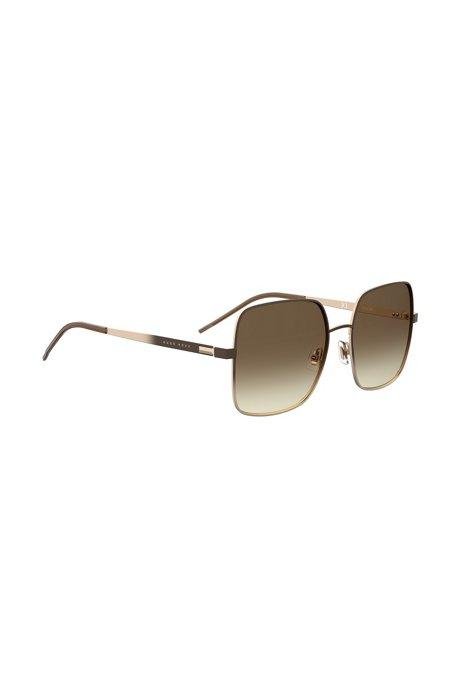 Chromatische Sonnenbrille aus Stahl mit Verlaufsgläsern, Dunkelbraun
