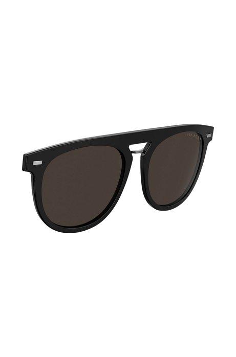 Runder Sonnenbrillen-Clip aus schwarzem Acetat, Schwarz