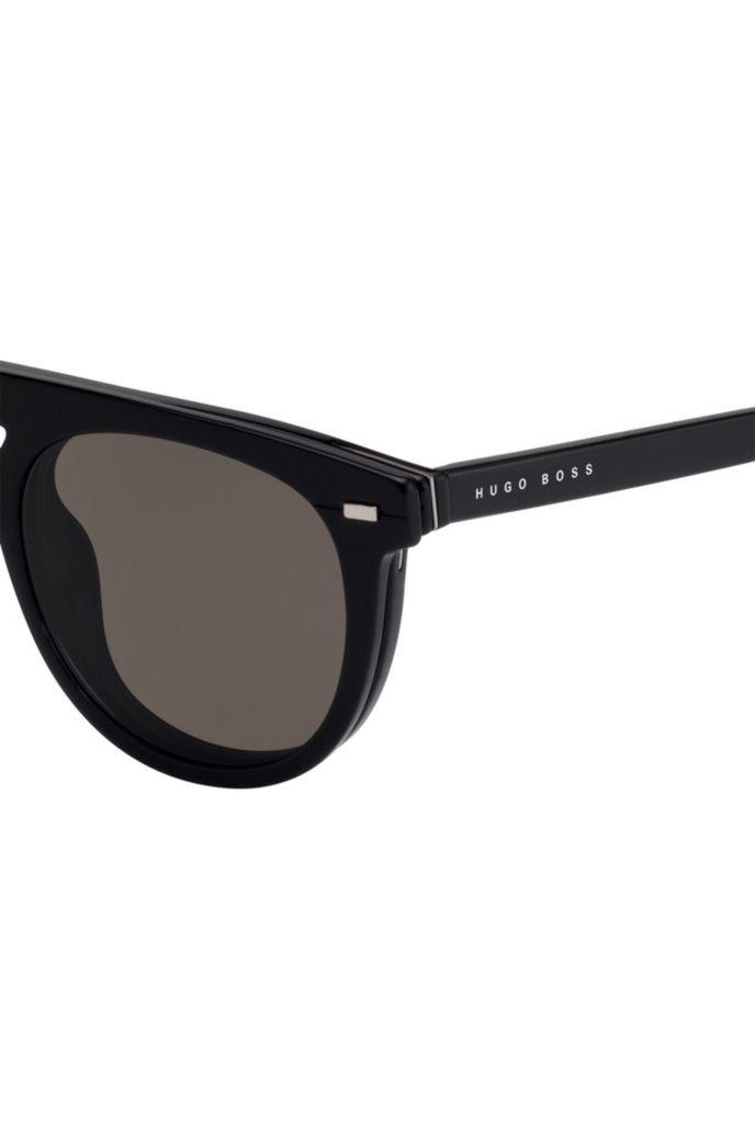 Runder Sonnenbrillen-Clip aus schwarzem Acetat