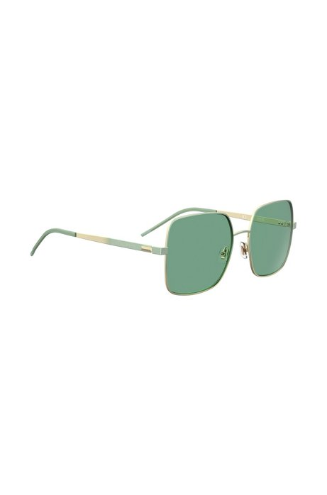 Green sunglasses with pyramid-shaped hardware, Light Green