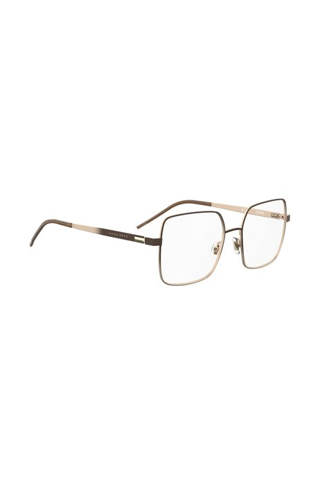 Lightweight optical frames in gold-tone steel, Dark Brown
