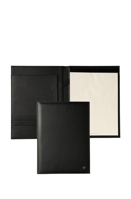 A4 folder in monogram-embossed black faux leather, Black