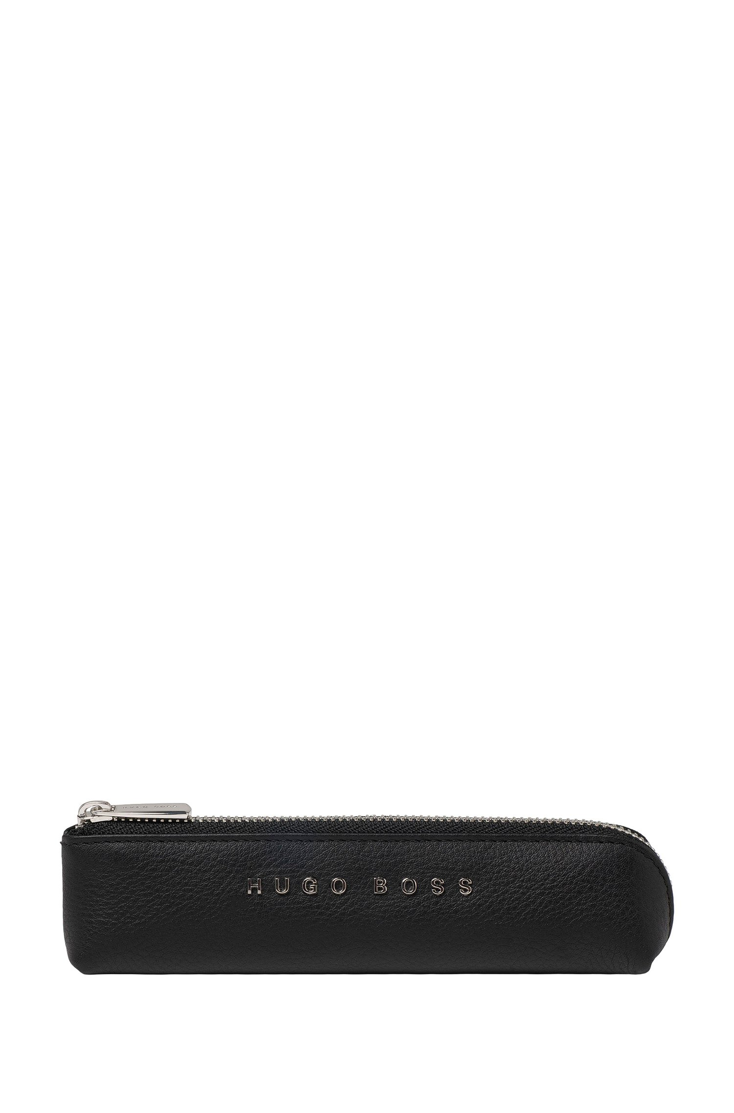 Black-grained-leather pen case with silver-tone logo, Black