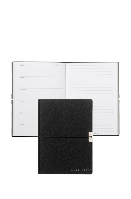 A6 notepad with black textured faux-leather cover, Black
