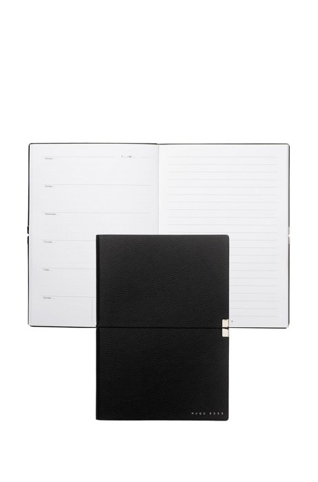 A5 notepad with black textured faux-leather cover, Black