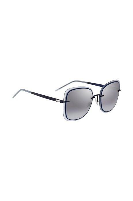 Blaue Sonnenbrille mit transparenten Kanten, Dunkelblau