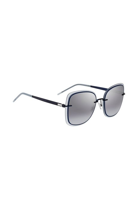 Blue sunglasses with transparent edging, Dark Blue