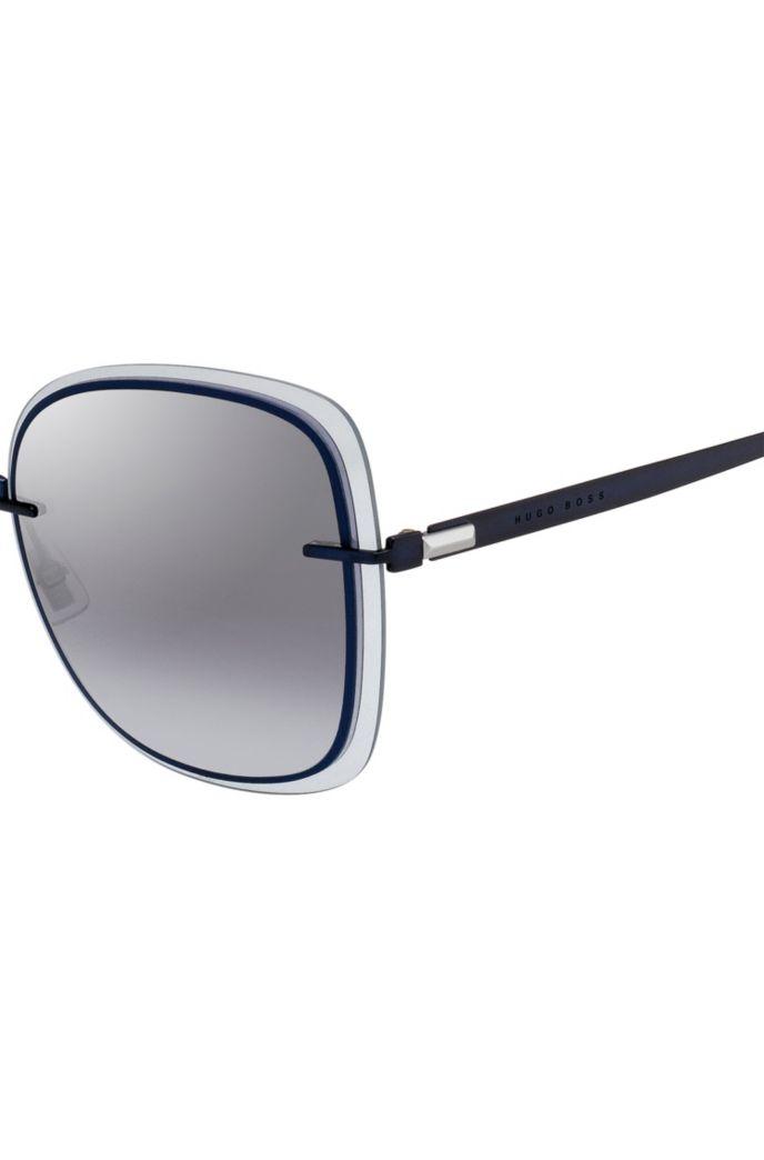 Blauwe zonnebril met transparante randen