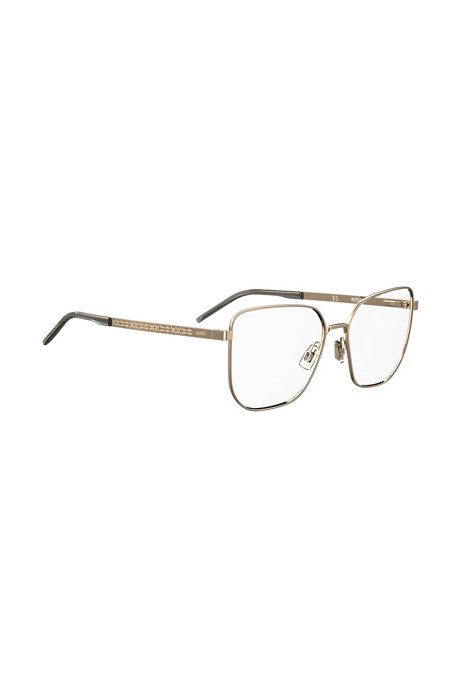 Optical frames in gold-tone steel with logo details, Gold