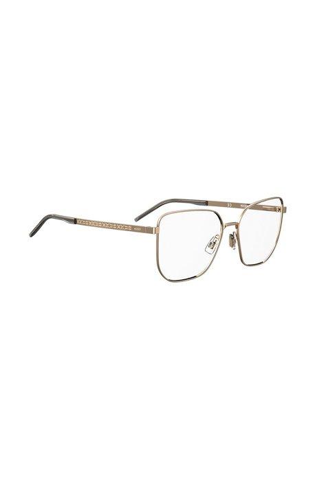 Optische Brillenfassung aus goldfarbenem Stahl mit Logo-Details, Gold
