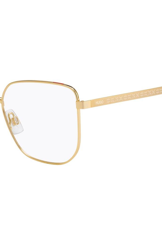 Optische Brillenfassung aus goldfarbenem Stahl mit Logo-Details