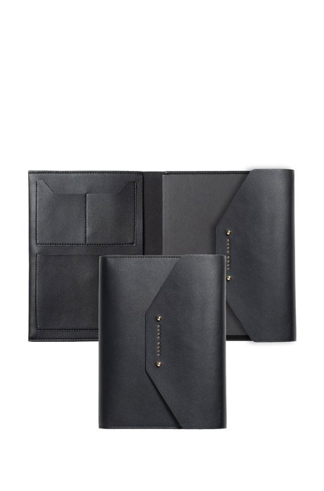 A5 conference folder in black faux leather, Black