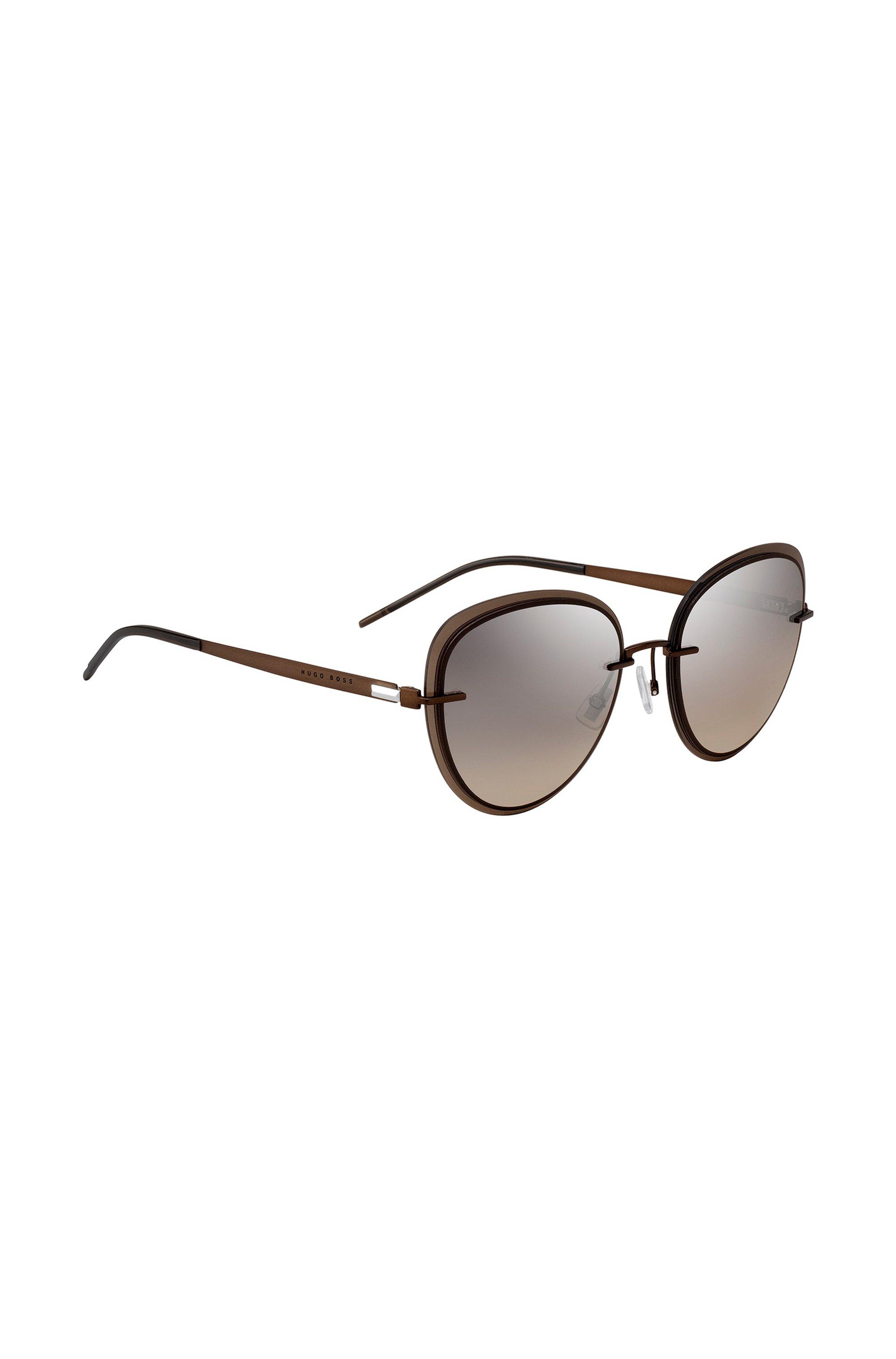 Braune Sonnenbrille mit transparenten Kanten, Dunkelbraun