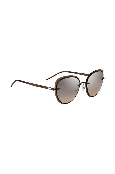 Brown sunglasses with transparent edging, Dark Brown