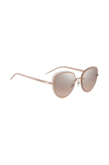 Nudekleurige zonnebril met transparante randen, goud