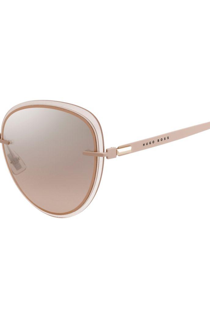 Gafas de sol en tono nude con bordes transparentes