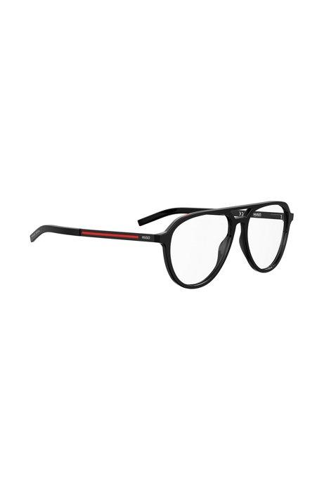 Optische Brillenfassung aus schwarzem Acetat mit roten Streifen, Schwarz