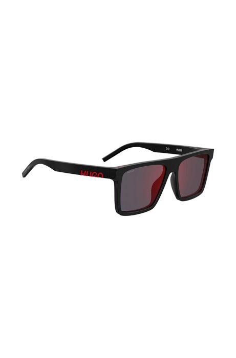 Sonnenbrille aus schwarzem Acetat mit abgeschnittenem Logo, Schwarz