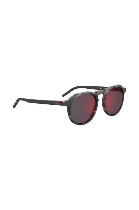 Gafas de sol en acetato de concha gris con lentes de espejo, Gris oscuro