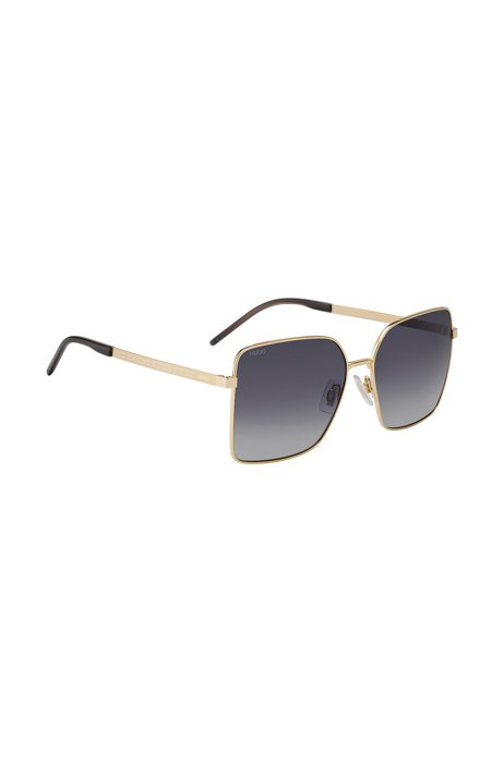 Gradient-lens sunglasses with cropped-logo temples, Gold
