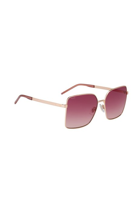 Rose-gold metal sunglasses with cropped-logo temples, Light Red