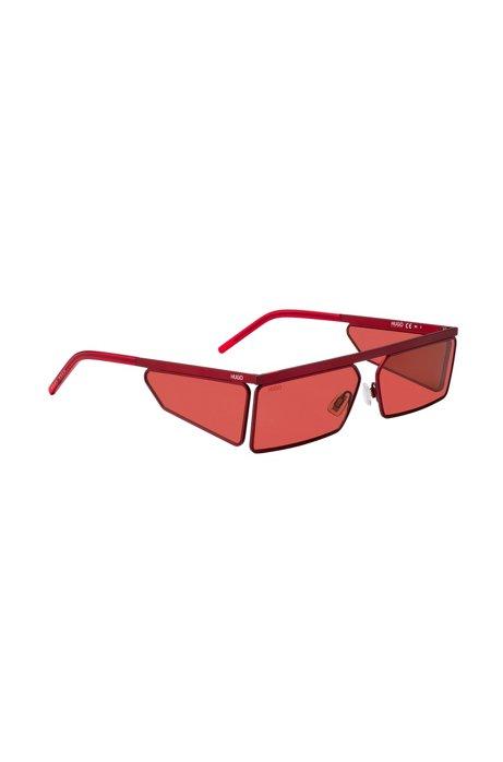 Rechthoekige zonnebril in het rood met ton-sur-ton verbrede poten, Rood