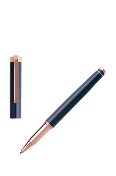 Rollerball pen in dark-blue lacquer with rose gold accents, Dark Blue