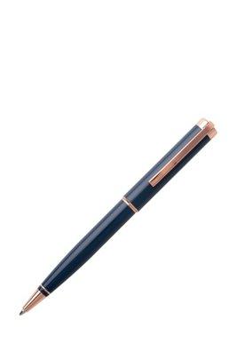 Kugelschreiber mit blauer Lackierung und roségoldfarbenen Details, Dunkelblau