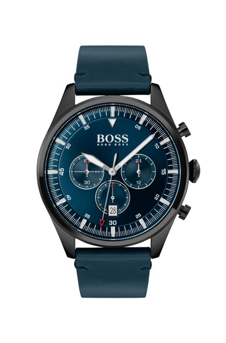 Black-plated chronograph watch with blue dial and strap, Dark Blue