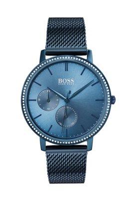 Montre plaquée bleue avec cristaux Swarovski® et bracelet en maille milanaise, Bleu