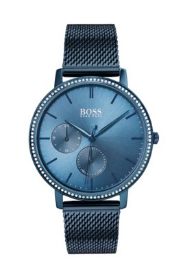 Blue-plated watch with Swarovski® crystals and mesh bracelet, Blue