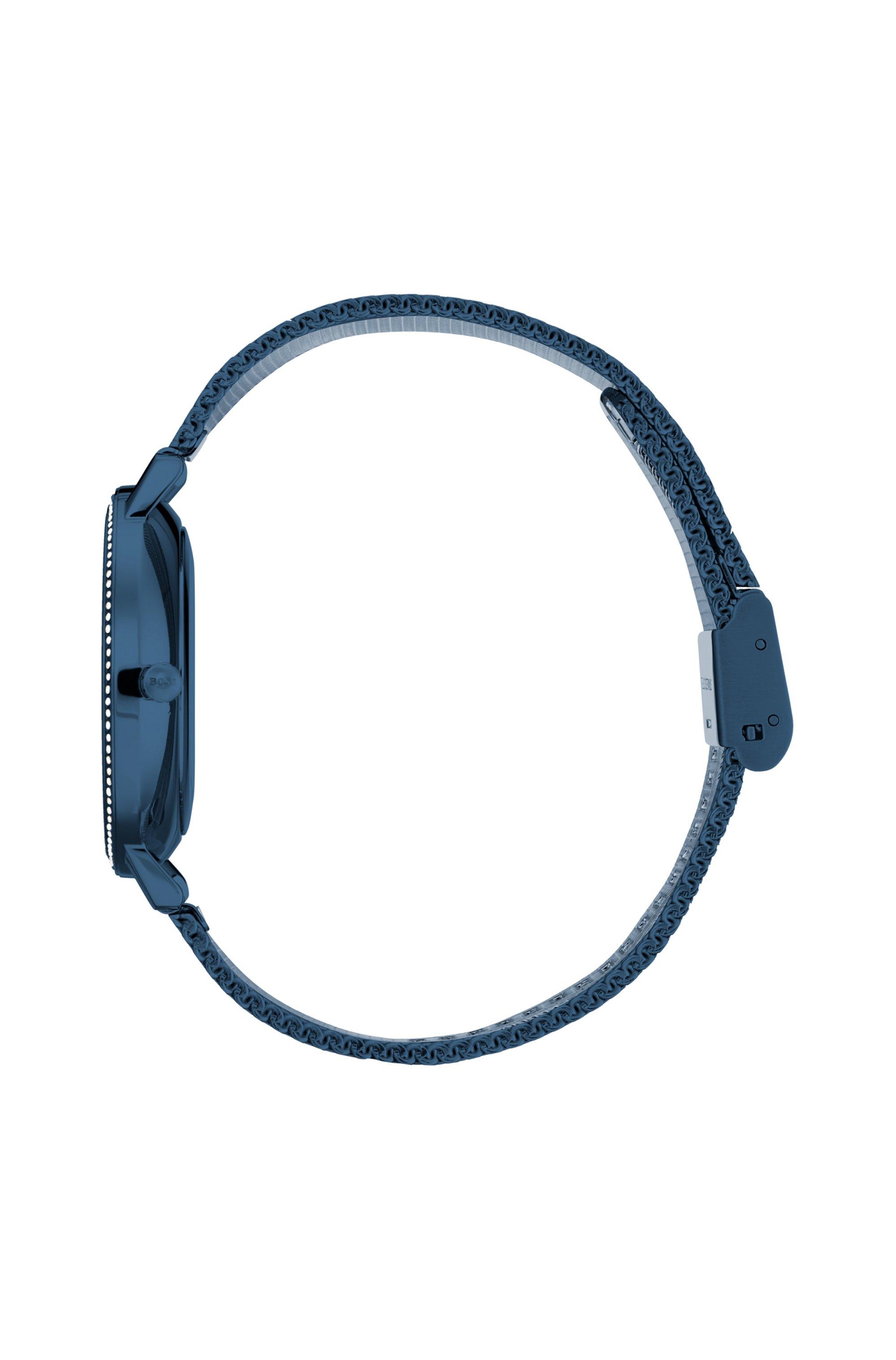 Montre plaquée bleue avec cristaux Swarovski® et bracelet en maille milanaise