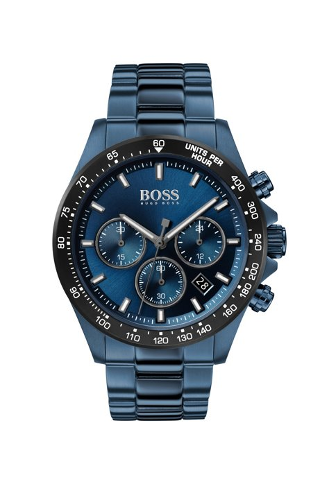Blue-plated chronograph watch with blue dial and link strap, Dark Blue