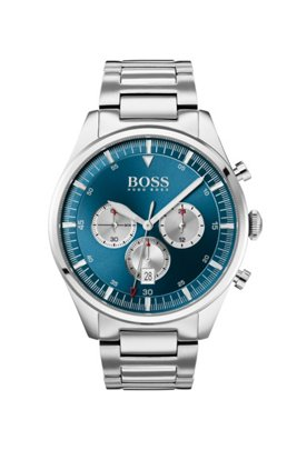 Stainless-steel chronograph watch with blue sunray-brushed dial, Silver