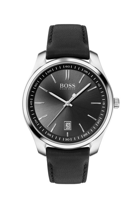 Leather-strap watch with black sunray-brushed dial, Black