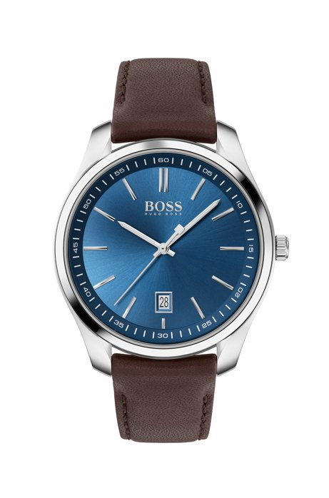 Leather-strap watch with blue dial, Dark Brown
