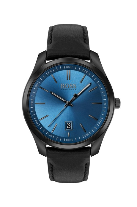 Black-plated watch with blue sunray-brushed dial, Black