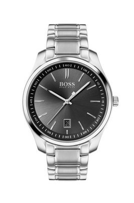 Black-dial watch with stainless steel bracelet, Silver