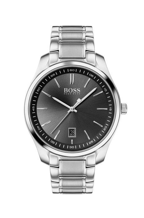 Reloj con esfera negra y pulsera de acero inoxidable, Plata