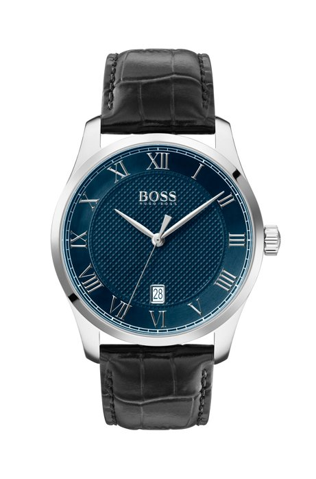 Leather-strap watch with textured blue dial, Black