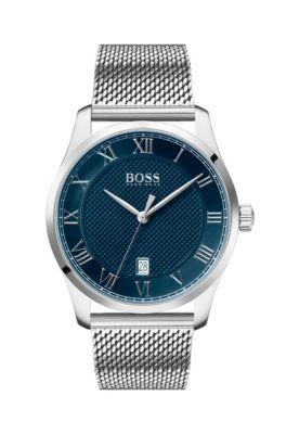 Reloj de acero inoxidable con esfera azul con textura y pulsera de malla, Plata