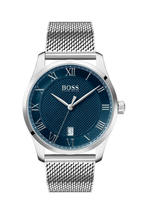 Stainless-steel watch with mesh strap and textured blue dial, Silver