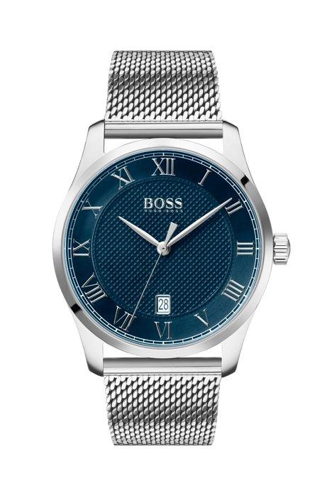 Horloge van roestvrij staal met mesh polsband en blauwe, gestructureerde wijzerplaat, Zilver